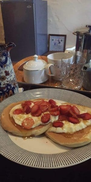 accommodation on bickley valley wine trail breakfast homemade american pancakes, fresh fruit local honey